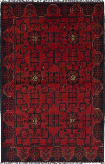 Traditional  Tribal Red Area rug 3x5 Afghan Hand-knotted 236253