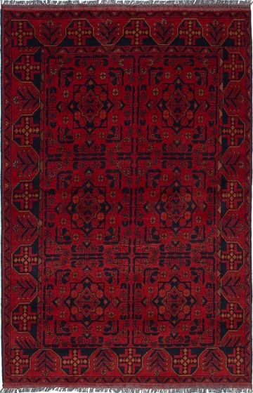 Traditional  Tribal Red Area rug 3x5 Afghan Hand-knotted 236311