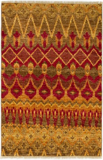 Casual  Transitional Red Area rug 3x5 Indian Hand-knotted 280026