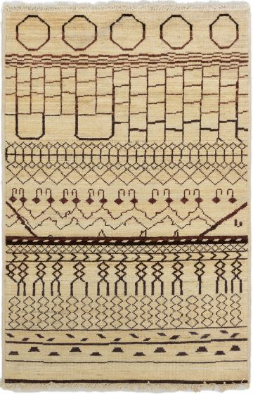 Casual  Transitional Ivory Area rug 3x5 Indian Hand-knotted 280062