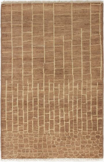 Casual  Transitional Brown Area rug 3x5 Indian Hand-knotted 280079