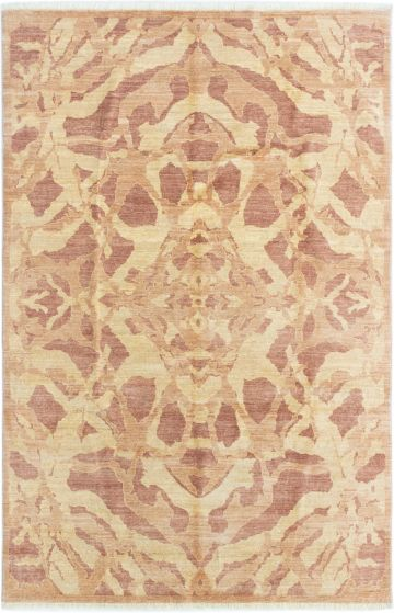 Transitional Ivory Area rug 5x8 Afghan Hand-knotted 280360