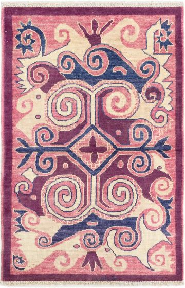 Casual  Transitional Purple Area rug 3x5 Indian Hand-knotted 280598