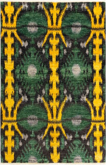 Casual  Transitional Green Area rug Unique Indian Hand-knotted 280692
