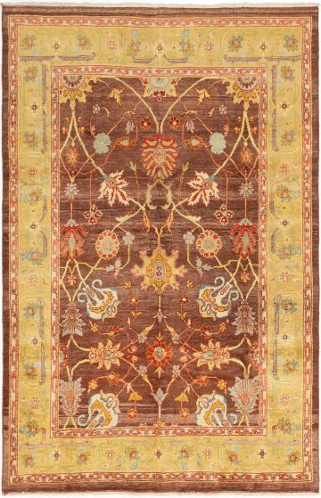 Bordered  Traditional Brown Area rug 5x8 Turkish Hand-knotted 280763