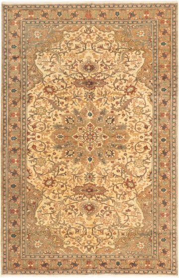 Bordered  Traditional Ivory Area rug 6x9 Turkish Hand-knotted 280951
