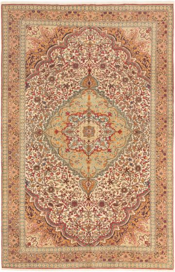 Bordered  Traditional Ivory Area rug 6x9 Turkish Hand-knotted 281002