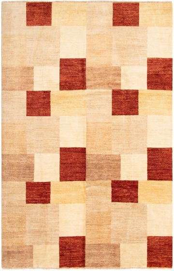 Casual  Transitional Ivory Area rug 6x9 Afghan Hand-knotted 294477