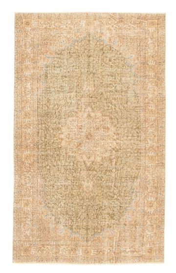 Bordered  Vintage Green Area rug 5x8 Turkish Hand-knotted 328224