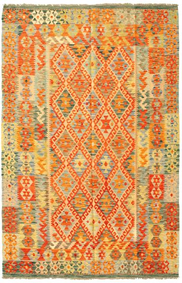 Flat-weaves & Kilims  Geometric Brown Area rug 5x8 Turkish Flat-weave 330490