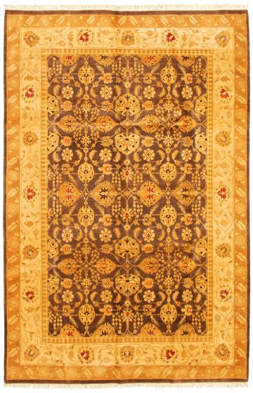 Bordered  Traditional Brown Area rug 5x8 Pakistani Hand-knotted 330510