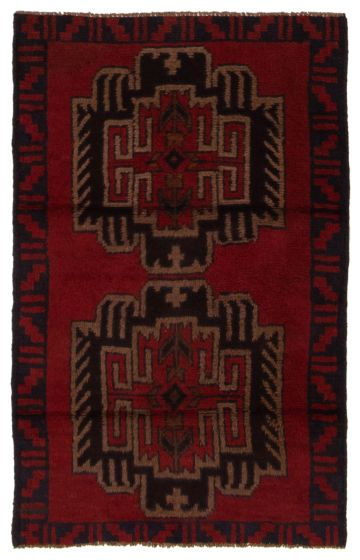 Bordered  Tribal Red Area rug 3x5 Afghan Hand-knotted 357167