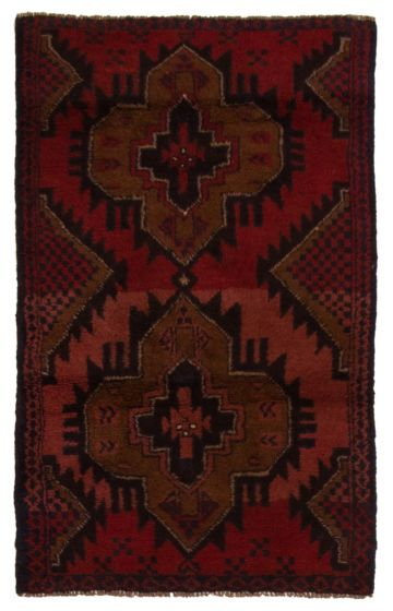Bordered  Tribal Red Area rug 3x5 Afghan Hand-knotted 357174