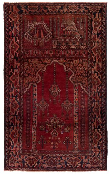 Bordered  Tribal Red Area rug 3x5 Afghan Hand-knotted 360588