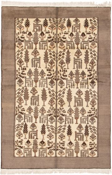 Bordered  Tribal Ivory Area rug 6x9 Persian Hand-knotted 290830