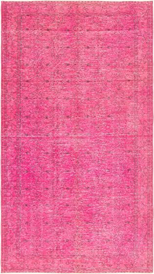 Bordered  Transitional Pink Area rug Unique Turkish Hand-knotted 295889