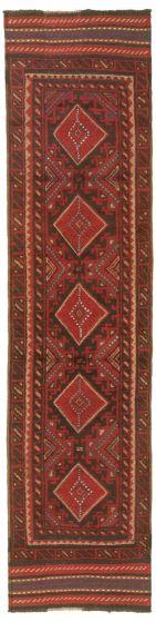 Bordered  Tribal Red Runner rug 9-ft-runner Afghan Hand-knotted 342975