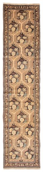 Bordered  Traditional Ivory Runner rug 11-ft-runner Persian Hand-knotted 358603