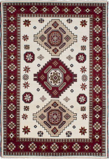 Traditional Ivory Area rug 5x8 Indian Hand-knotted 233538