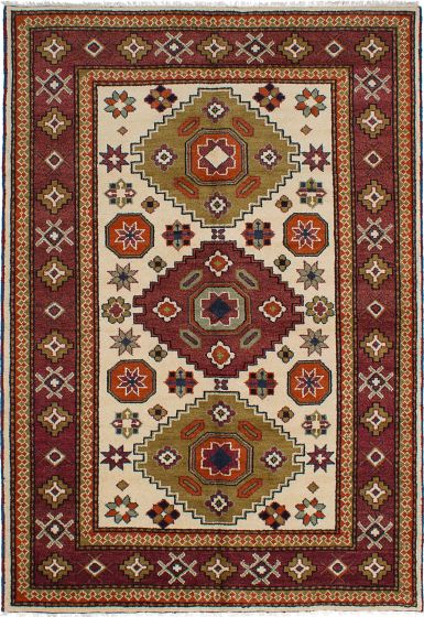 Geometric  Traditional Ivory Area rug 6x9 Indian Hand-knotted 233547