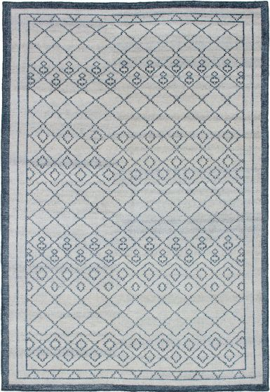 Bordered  Moroccan Ivory Area rug 5x8 Indian Hand-knotted 271786