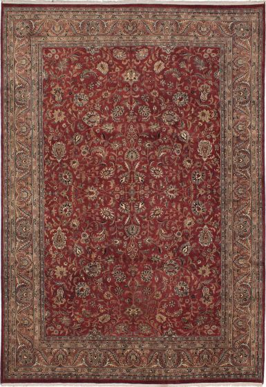 Bordered  Traditional Red Area rug Unique Indian Hand-knotted 273126