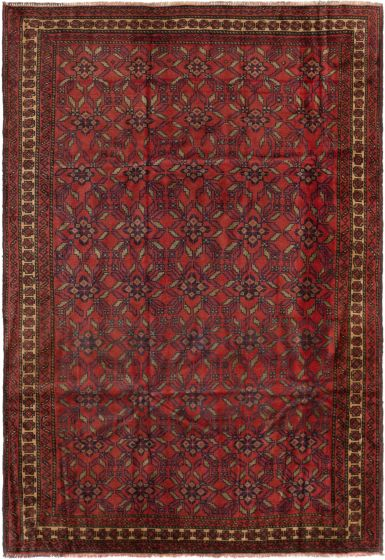 Bordered  Tribal Red Area rug 6x9 Afghan Hand-knotted 280173