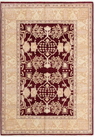 Bordered  Traditional Red Area rug 5x8 Afghan Hand-knotted 280385