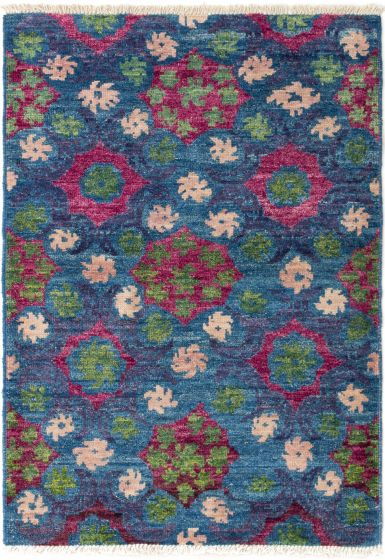 Casual  Transitional Blue Area rug 3x5 Indian Hand-knotted 280497