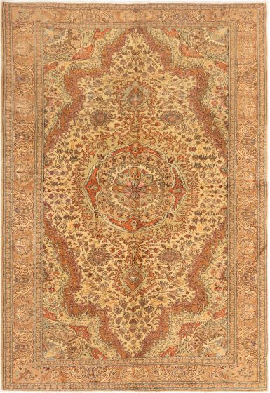Bordered  Traditional Ivory Area rug 6x9 Turkish Hand-knotted 281003