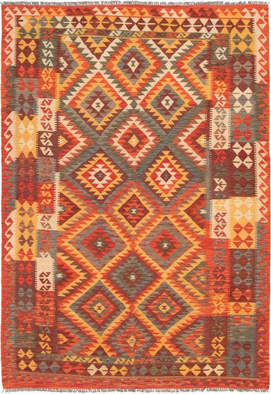 Bordered  Geometric Red Area rug 5x8 Turkish Flat-weave 297676