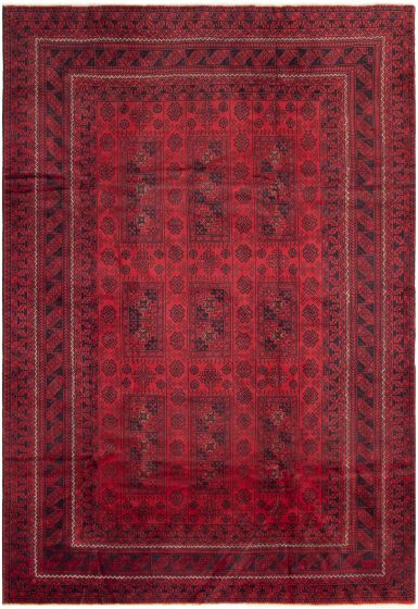 Bordered  Tribal Red Area rug 6x9 Afghan Hand-knotted 298059
