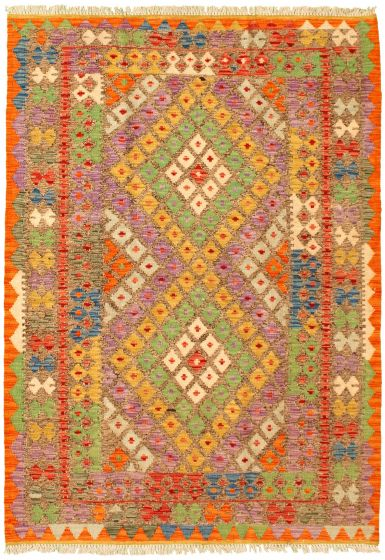 Bordered  Geometric Grey Area rug 3x5 Turkish Flat-weave 329957