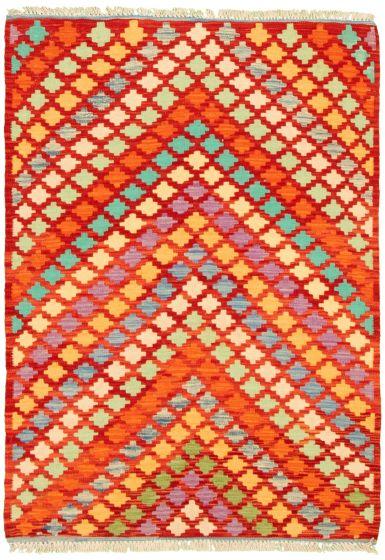 Flat-weaves & Kilims  Geometric Red Area rug 3x5 Turkish Flat-weave 330181