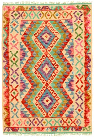 Bordered  Geometric Ivory Area rug 3x5 Turkish Flat-weave 330233