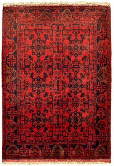 Bordered  Tribal Red Area rug 3x5 Afghan Hand-knotted 330275