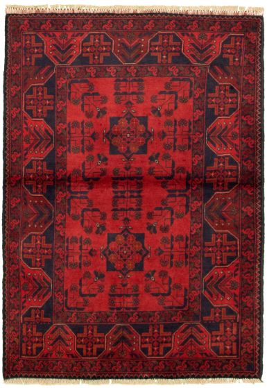 Bordered  Tribal Red Area rug 3x5 Afghan Hand-knotted 330285