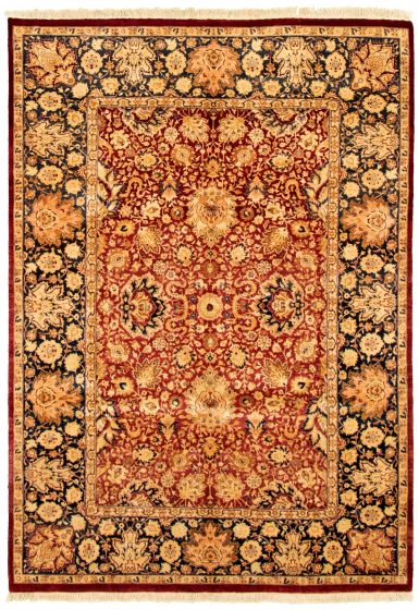 Bordered  Traditional Red Area rug 5x8 Pakistani Hand-knotted 330493