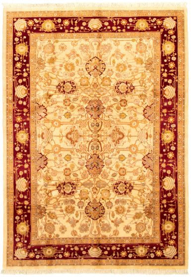 Bordered  Traditional Ivory Area rug 5x8 Pakistani Hand-knotted 330496