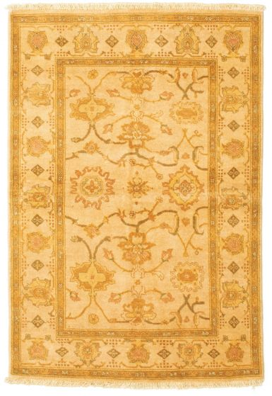 Bordered  Traditional Ivory Area rug 3x5 Afghan Hand-knotted 331236