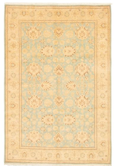Bordered  Traditional Blue Area rug 5x8 Pakistani Hand-knotted 331608