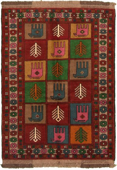 Bordered  Tribal Brown Area rug 3x5 Turkish Hand-knotted 333002