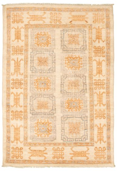 Bordered  Traditional Brown Area rug 3x5 Pakistani Hand-knotted 338755