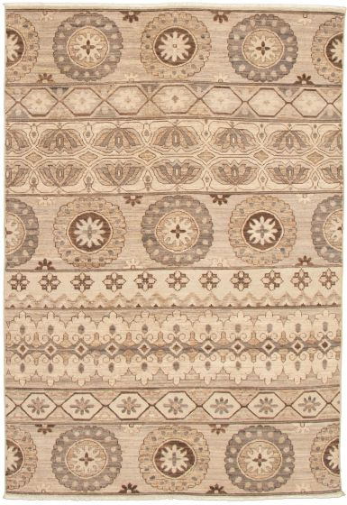 Casual  Transitional Grey Area rug 5x8 Pakistani Hand-knotted 339016