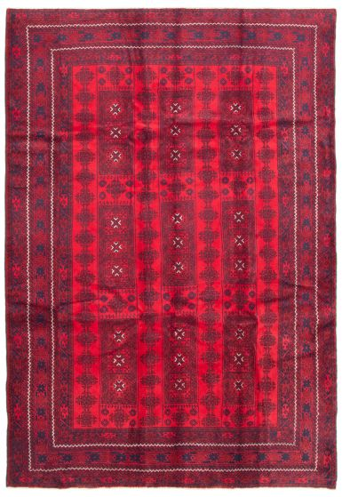 Bordered  Tribal Red Area rug 6x9 Afghan Hand-knotted 342483