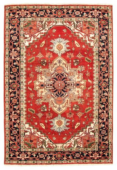 Bordered  Traditional Red Area rug 5x8 Indian Hand-knotted 344618
