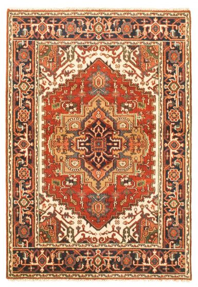 Bordered  Traditional Red Area rug 3x5 Indian Hand-knotted 344837