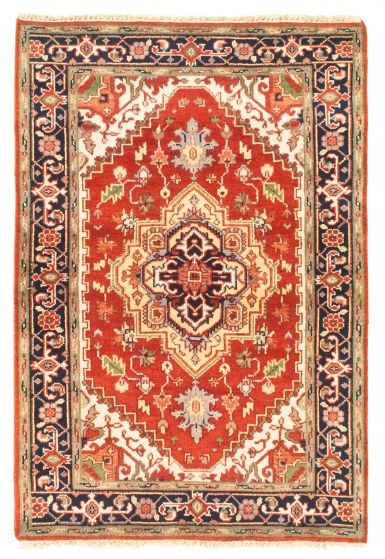 Bordered  Traditional Red Area rug 3x5 Indian Hand-knotted 344856