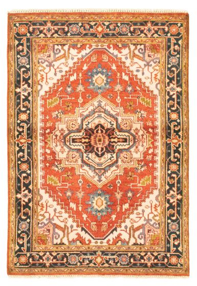 Bordered  Traditional Brown Area rug 3x5 Indian Hand-knotted 344858