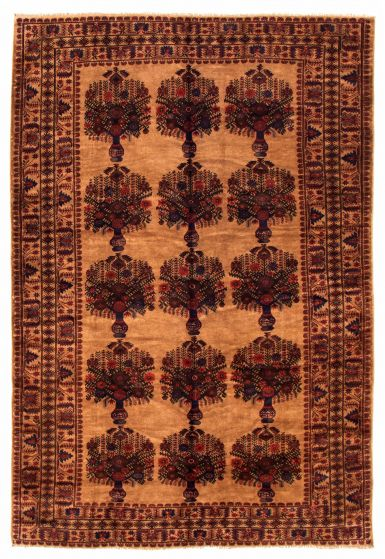 Bordered  Tribal Brown Area rug 6x9 Afghan Hand-knotted 348516